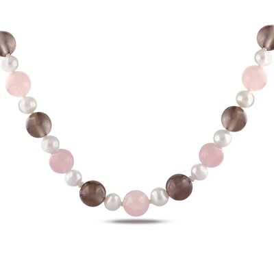 Rose Quartz, Brown Agate and White Cultured Pearl Necklace