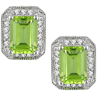 Diamonds and Peridot Pin Earrings