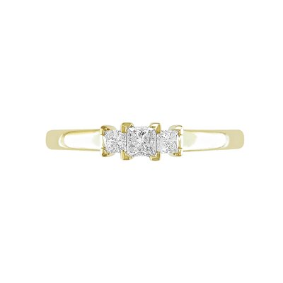 Yellow Gold White Diamonds Three Stone Ring