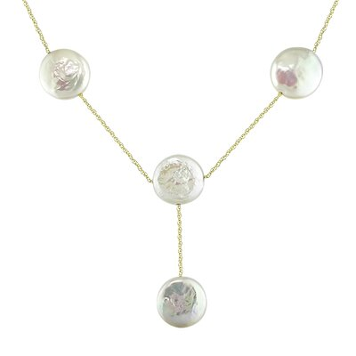 Yellow Gold Rope Chain Coin Shaped Freshwater Cultured Pearls Necklace