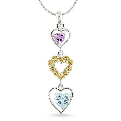 Amour Snake Chain Round Cut, Heart Cut Gemstones Topaz Two and Three Eighths Pendant