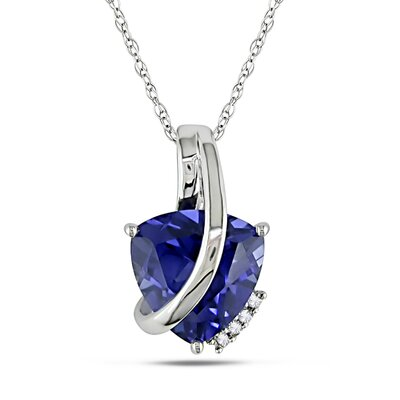 Rope Chain Round Cut, Trilliant Cut Created Blue Sapphire and Diamonds Pendant