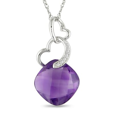 Amour Rope Chain Round Cut, Cushion Cut Amethyst and Diamonds Fashion Pendant