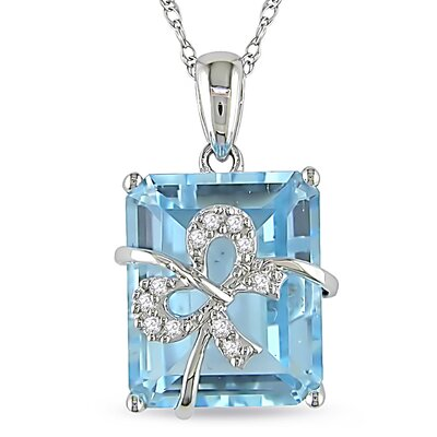 Cable-chain Round-cut Diamond and Octagon-cut Sky-blue Topaz Pendant