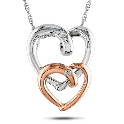 Amour White and Pink Gold Rope-chain Round-cut A Quarter Carat of Diamond Heart Pendant