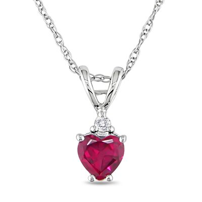 Rope Chain Round Cut, Heart Cut and Ruby Diamond Pendant