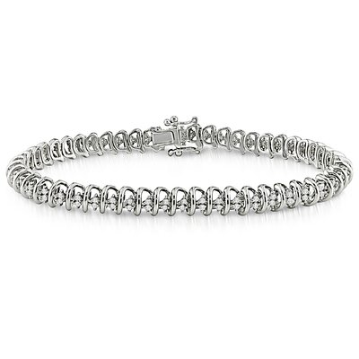 Sterling Silver Round Cut Diamond Bracelet