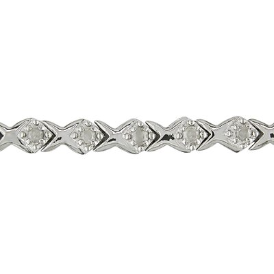 Amour Sterling Silver Round Cut Diamond Bracelet