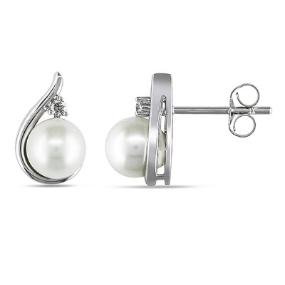 Round Shaped Freshwater Cultured Pearl Stud Earrings