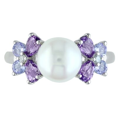 Amour Sterling Silver Round Cut Tanzanite and Pearl Multi Stone Ring