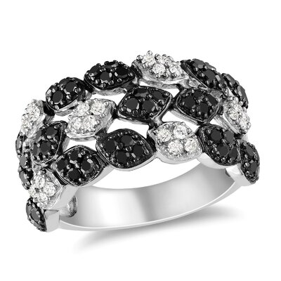 Amour Sterling Silver Round Cut Diamond and Rhodium Multi Stone Ring
