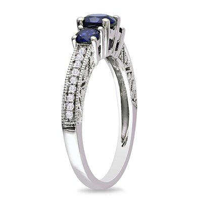 Amour White Gold Round Cut Sapphire Multi Stone Ring