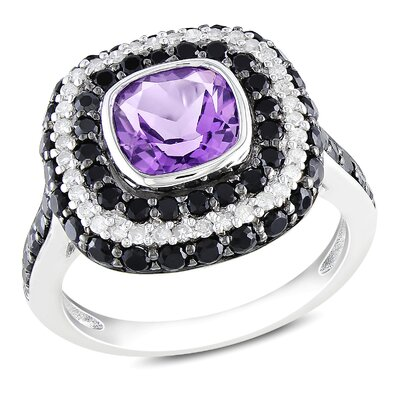 Sterling Sliver Cushion Cut Amethyst Halo Ring