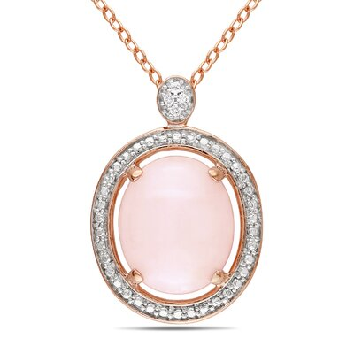 Pink Rhodium Oval Pink Opal Fashion Pendant