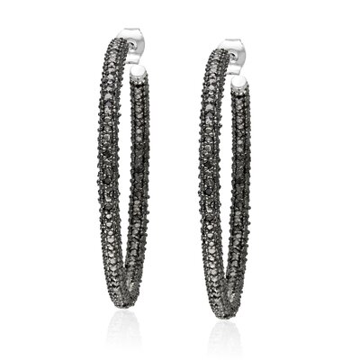 Amour Round Cut Black Diamond Hoop Earrings