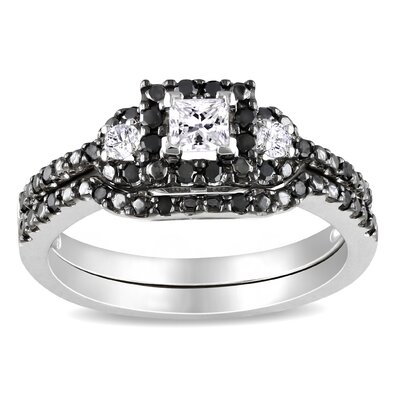 Amour White Gold Princess and Round Cut Diamond Bridal Set Ring