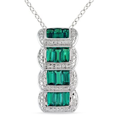 Sterling Silver Baguette Cut Emerald Fashion Pendant