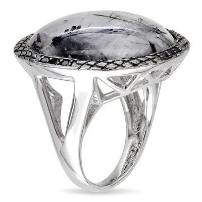 Amour Black and White Rhodium Round Cut Gemstone Single Stone Ring