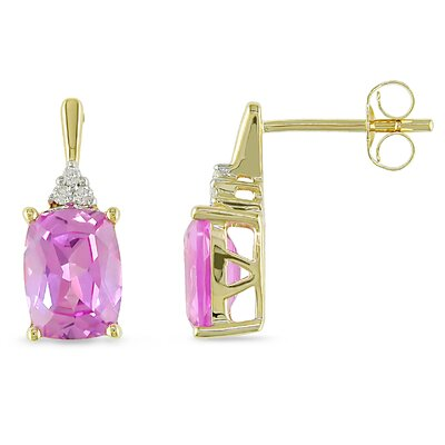 14K Gold Round Diamond Sapphire Earrings