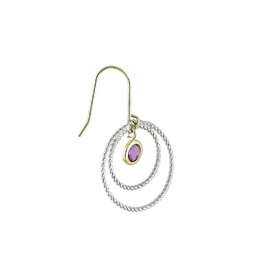 Amour 14K Gold and Sterling Silver Round Cut Amethyst Gemstones Earrings