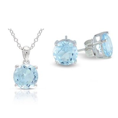 Amour Round Cut Sky Blue Topaz Stud Earrings and Pendant