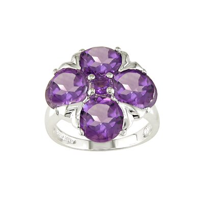 Amour Sterling Silver Round Cut Amethyst Fashion Ring