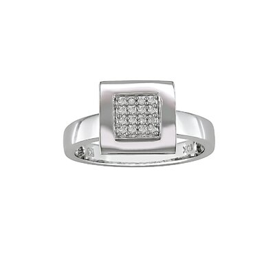 White Gold Round Cut Diamond Fashion Ring