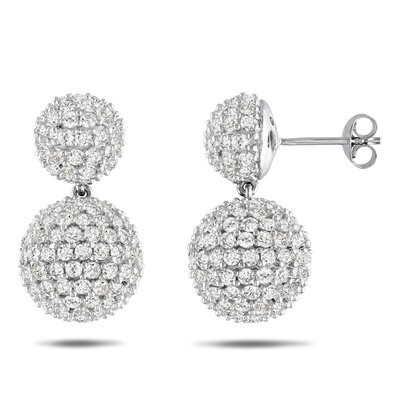 Amour Round Cut Cubic Zirconia Dangle Earring