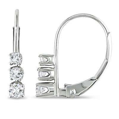 Round Cut Diamond Drop Earrings