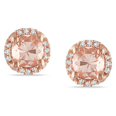 Amour Round Cut Diamond and Morganite Stud Earrings