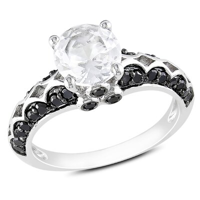 Sterling Silver Round Cut Diamond and Sapphire Ring