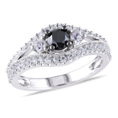 Sterling Silver Round Cut White Sapphire Fashion Ring