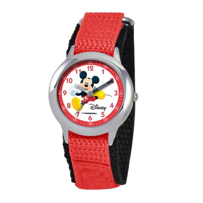 Disney Kid's Mickey Mouse Time Teacher Watch in Red Nylon