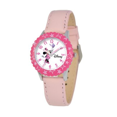 Disney Kid's Minnie Mouse Time Teacher Watch in Pink Leather with Pink Bezel