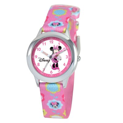 Kid's Minnie Mouse Time Teacher Printed Watch in Pink Nylon