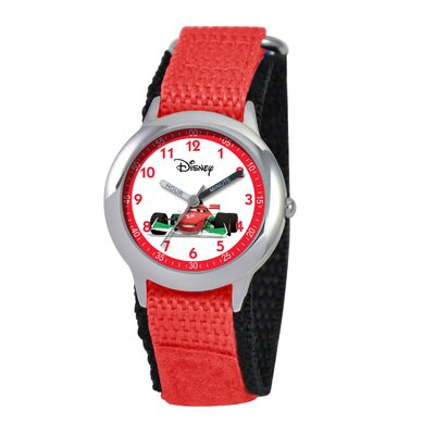 Kid's Cars Time Teacher Velcro Watch in Red