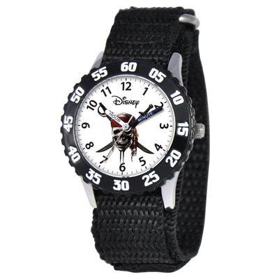 Disney Kid's Phineas Stainless Steel Time Teacher Velcro Watch in Black with Black Bezel