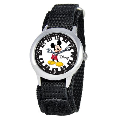 Disney Kid's Mickey Time Teacher Velcro Watch in Black