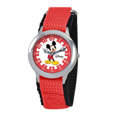 Disney Kid's Mickey Time Teacher Velcro Watch in Red