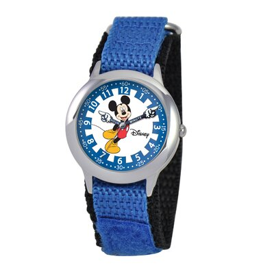 Kid's Mickey Time Teacher Velcro Watch in Blue