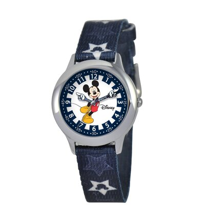 Disney Kid's Mickey Stainless Steel Time Teacher Printed Strap Watch in Blue