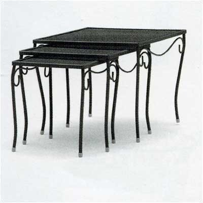 Mesh Top Occasional Nest of 3 Side Table