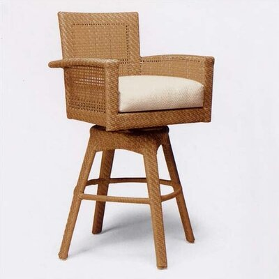 Woodard Trinidad Wicker Outdoor Bar Stool w/ Cushion