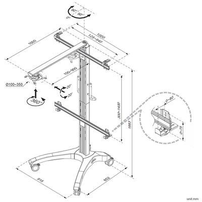 Cotytech Adjustable Ergonomic Mobile Projector Cart