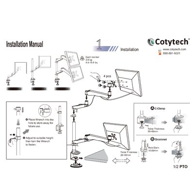 Cotytech Dual Monitor Desk Mount Spring Arm Quick Release