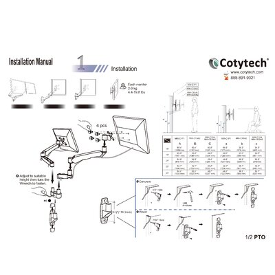 Cotytech Monitor Wall Spring Arm Mount Quick Release