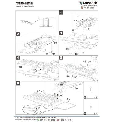 Cotytech Fully Adjustable Ergonomic Keyboard Mouse Tray-Ball Bearing-Spring