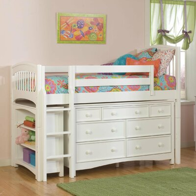Bolton Furniture Windsor Twin Low Loft Bed with Bookcase and Wakefield Dresser