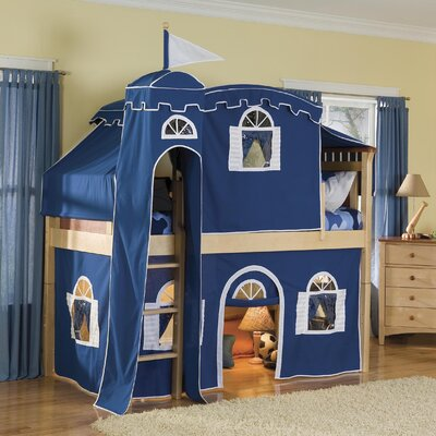 Bennington Twin Low Loft Tent Bed with Tent and Built-In Ladder
