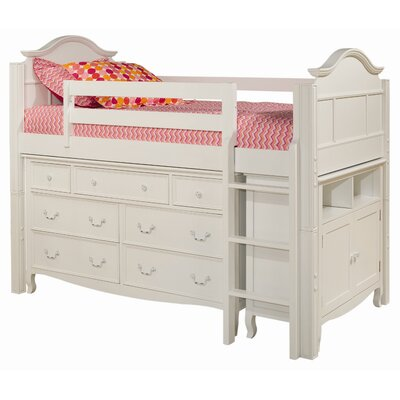 Bolton Furniture Emma Twin Loft Bed with 7 Drawer Dresser and Media Storage Cabinet